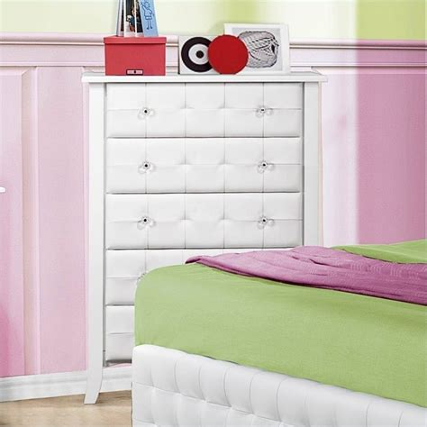 trent home sparkle tufted 5 drawer chest in white 2004 9