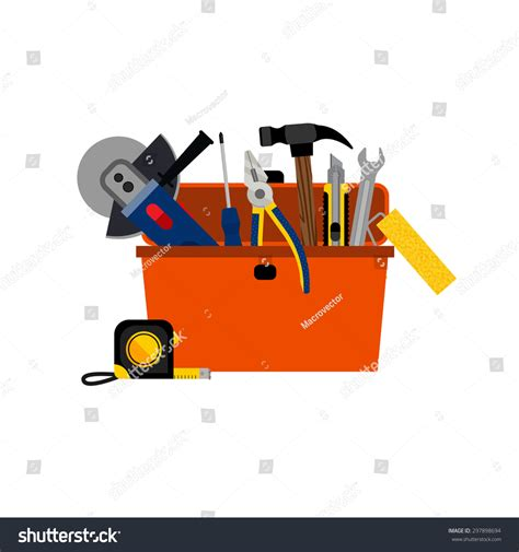 design concept of a powered hand tool toolbox diy house repair home renovation stock vector