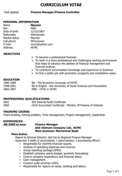 finance manager cv template finance cv template for free formtemplate