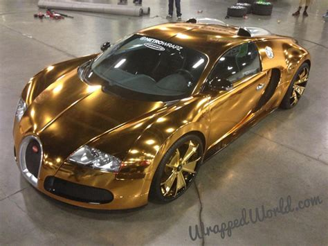 golden super cars gold chrome bugatti veyron owned by flo rida