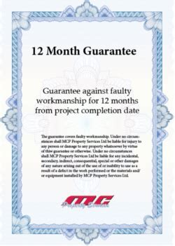 Guarantee Letter Format For Waterproofing Work Guarantee For Property Maintenance Repairs Plumbing Electrician Plasterer Decorator
