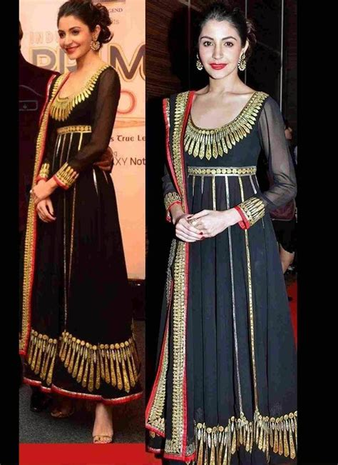 Sharma Designs The Of A - anushka sharma black anarkali suit