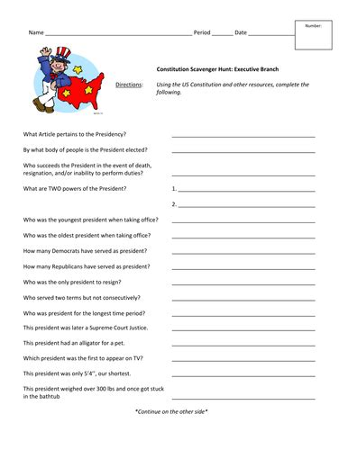 constitution scavenger hunt worksheet worksheets