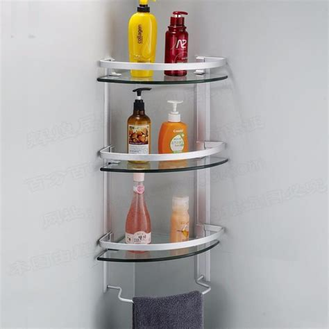 3 tier glass shelf bathroom aluminum 3 tier glass shelf shower holder bathroom