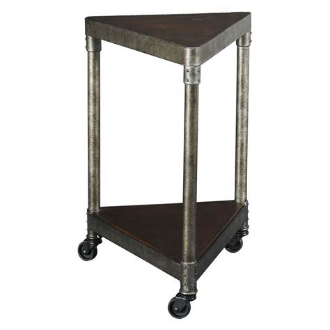 corner accent table with drawer masculine triangle corner table with wooden and metal