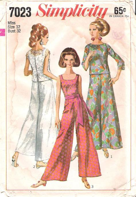 sewing pattern palazzo pants vintage 1960 s jumpsuit with palazzo pants and overblouse