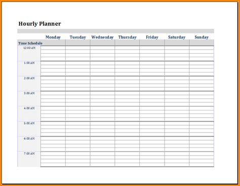 hourly planner template 4 day schedule template calendar template 2016