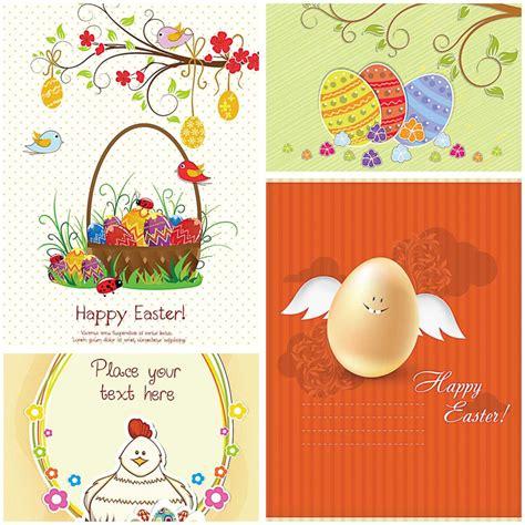 cute easter greeting card set vector