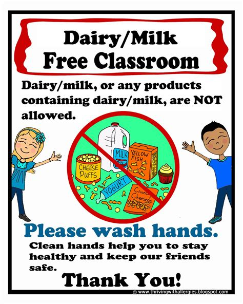 printable allergy poster dairy free classroom poster a free printable poster