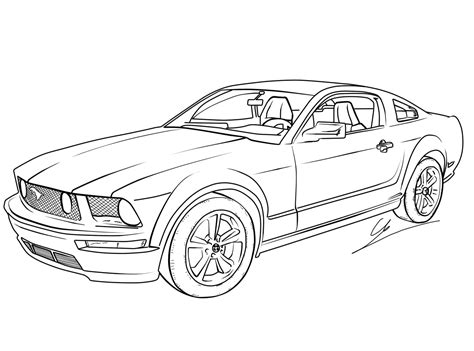color cars free printable mustang coloring pages for