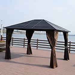Metal Gazebo With Curtains Outsunny 12 X 10 Steel Hardtop Outdoor