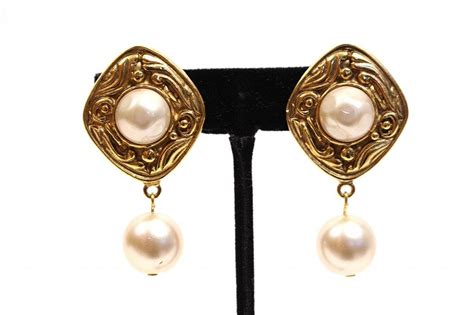 vintage chanel gold pearl earrings at rice and beans vintage