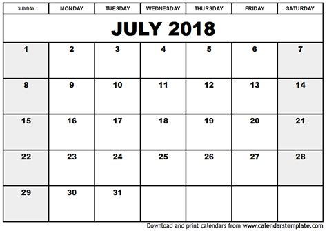 Calendar 2018 May June July July 2018 Calendar Template