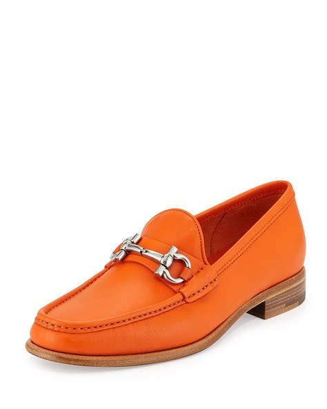 orange loafers ferragamo leather loafers in orange lyst