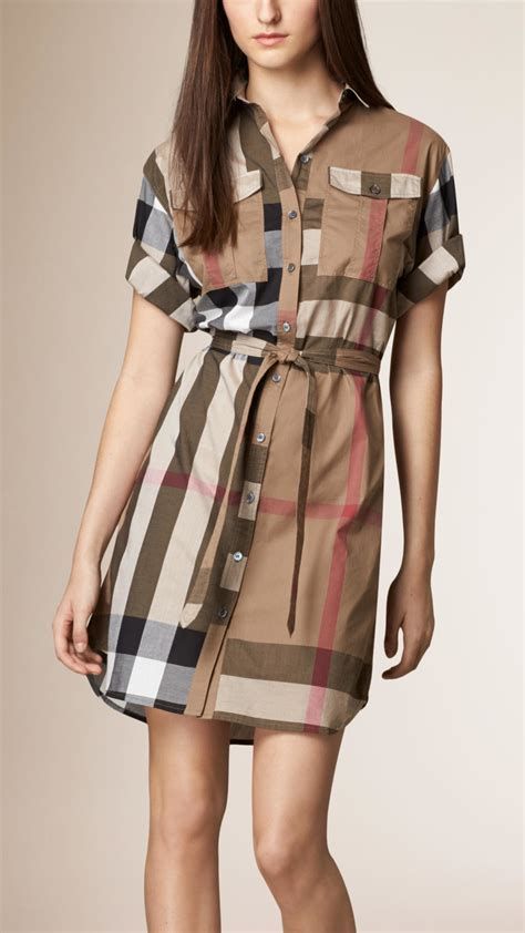 Dress Burberi lyst burberry check cotton box fit shirt dress in brown