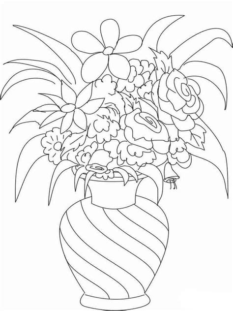 coloring pages of flowers in a vase flowers in a vase coloring pages download and print