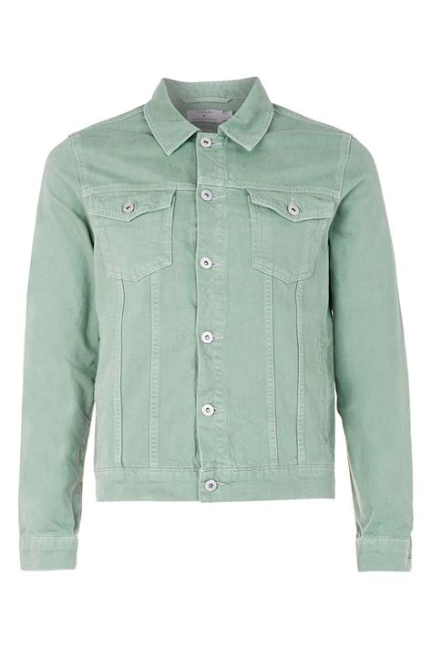 Jaket Denim Greenlight Topman Light Green Denim Jacket In Green For Lyst