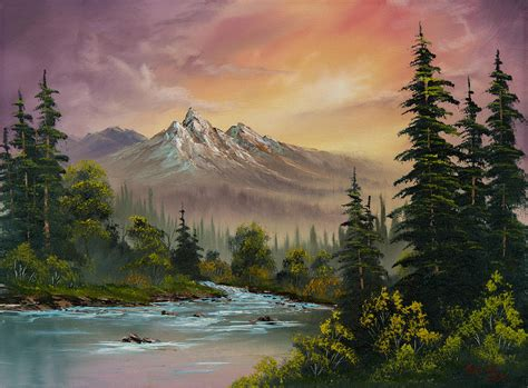 mountain sunset painting by c