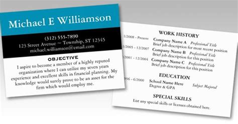 Resume Business Card Template by Resume Business Cards Axisandallies Us