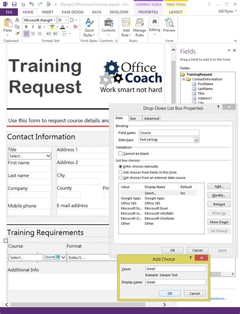 form layout design exles microsoft infopath officecoach
