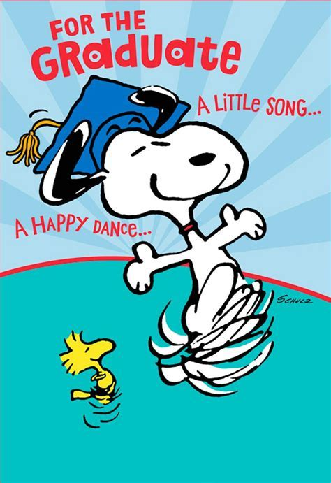 Snoopy Happy Dance Pop Up Graduation Card   Greeting Cards