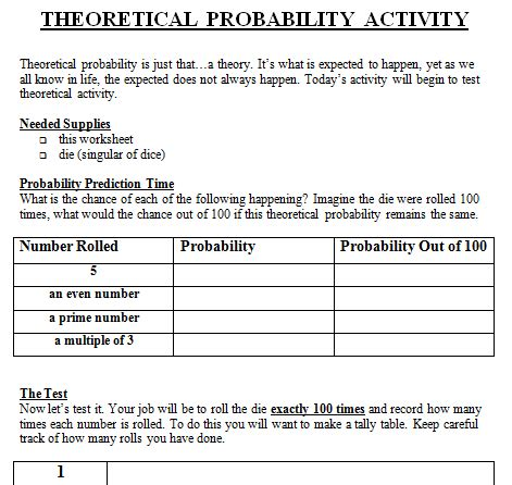 Experimental Probability Worksheet by Theoretical And Experimental Probability Lesson Plan 7th