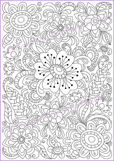 printable zentangle flowers coloring page pdf adults and children printable doodle