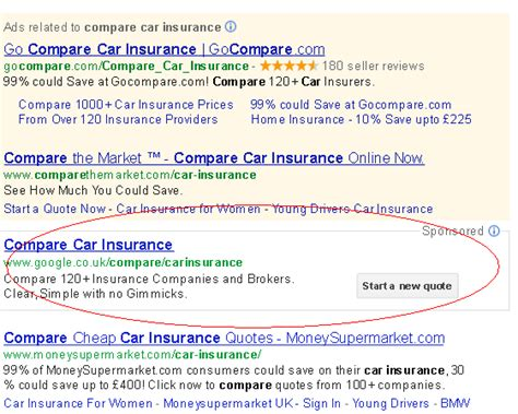 Google UK Launches Car Insurance Comparison Shopping