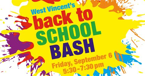Families Join The Fun At The Back To School Bash On Friday Sept 6 West Vincent Elementary Back To School Bash Flyer Template Free