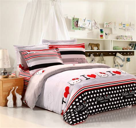 low price hello kitty bedding comforter sets with black