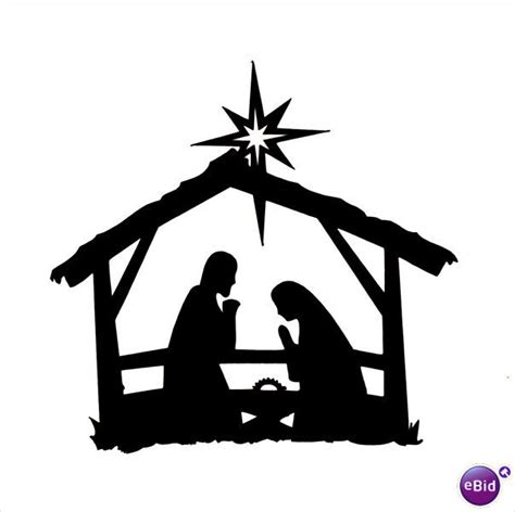 10 X Quot Stable Nativity Quot Silhouette Christmas Die Cuts In Black On Ebid United Kingdom Christmas Nativity Silhouette Template