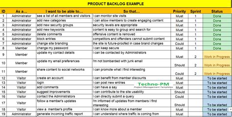 scrum user stories template product backlog excel template free project