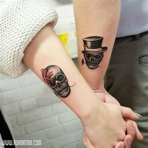 matching skull tattoos 60 best skull designs and ideas tattoobloq