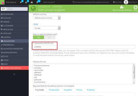 html zip format prestashop 1 6 x how to change zip postal code format