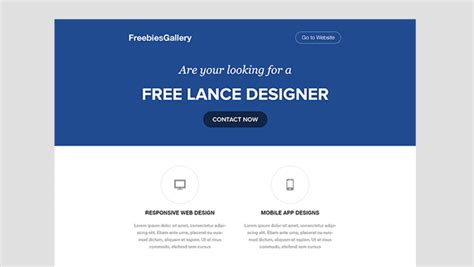 psd to email template free one page web resume template freebies gallery