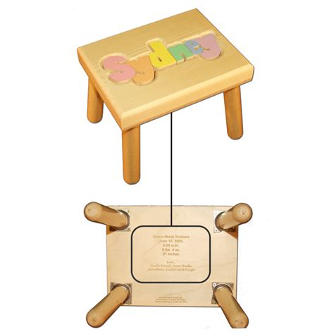 Personalized Puzzle Stool For by Personalized Name Puzzle Stool With Pastel Colors