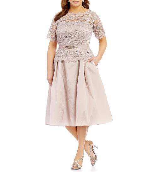 Voerin Dress Lace Size S papell plus lace taffeta tea length dress dillards