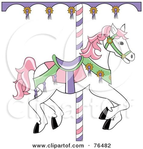 white carousel horse with pink hair posters art prints by