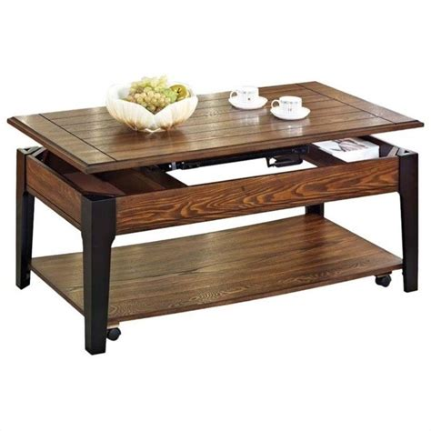 black lift coffee table acme furniture magus lift top brown oak black coffee
