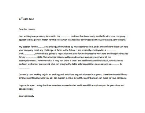 profesional cover letter sle professional cover letter 8 documents