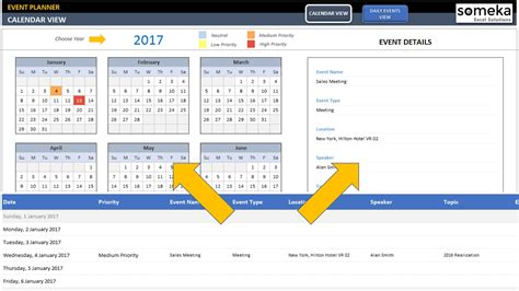 excel event calendar template dynamic event calendar interactive excel tempate