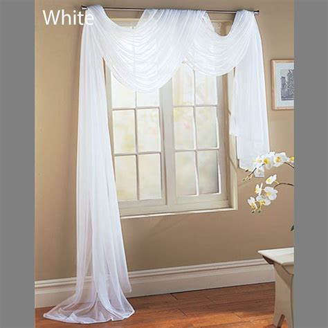 Valances Only White Scarf Sheer Voile Window Treatment Curtain Drapes