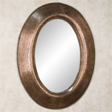 copper bathroom mirrors oval lightly hammered copper mirror with braided brass