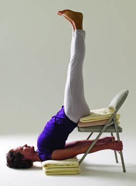 Chair Sarvangasana by Fatigue Relief Bolsters Blankets Blocks Belts Marla Apt