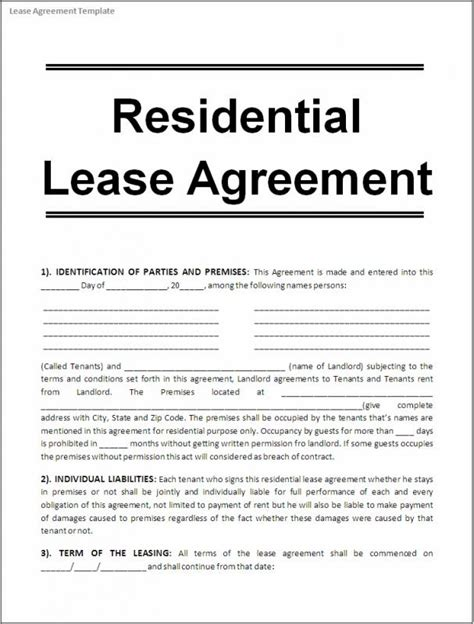 Printable Lease Agreement Template Business Rent Payment Agreement Template
