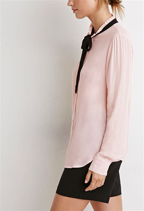 Blouse Rumbai Bow Black forever 21 contemporary bow blouse in pink lyst