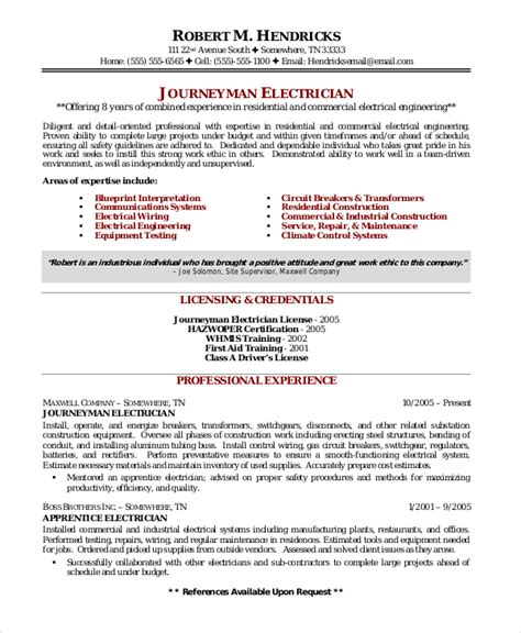 Residential Electrician Sle Resume by Electrician Resume Templates Electrician Resume Template 5free Word Excel Pdf Documents Template
