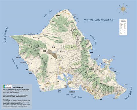 printable map honolulu oahu map illustratorcom map oahu mappery