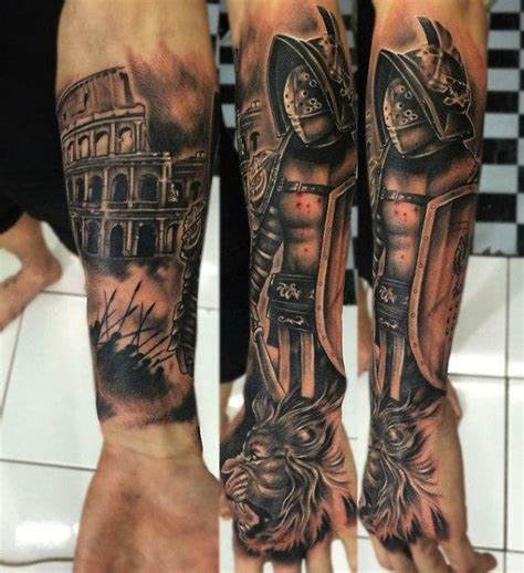 roman sleeve tattoo designs 50 gladiator ideas for hitheaters and