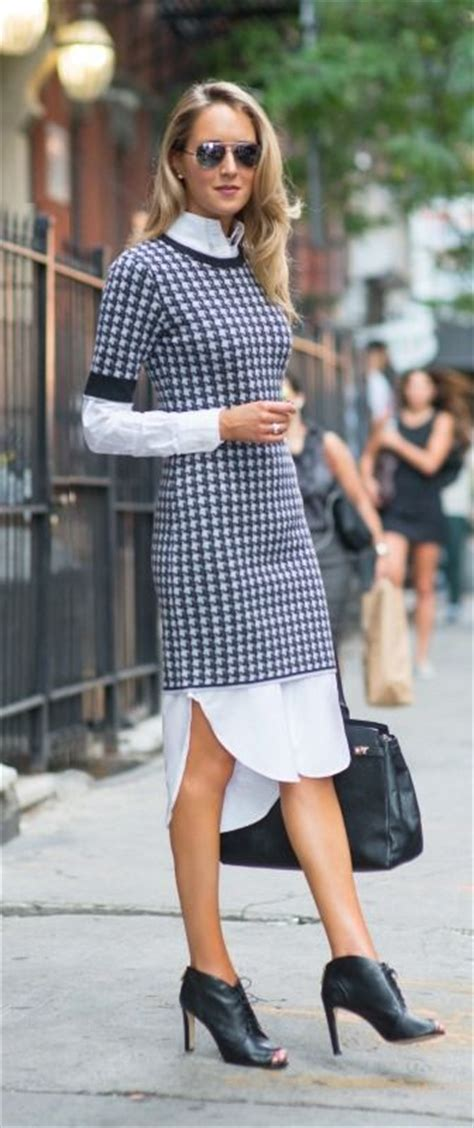 White Shirt Layer Houndstooth layering sweaters dresses